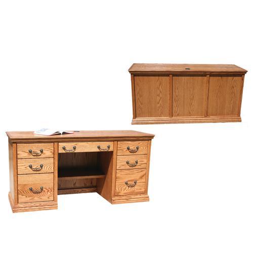 "O-T653 Traditional Oak 62"" Double Pedestal Writing Desk"