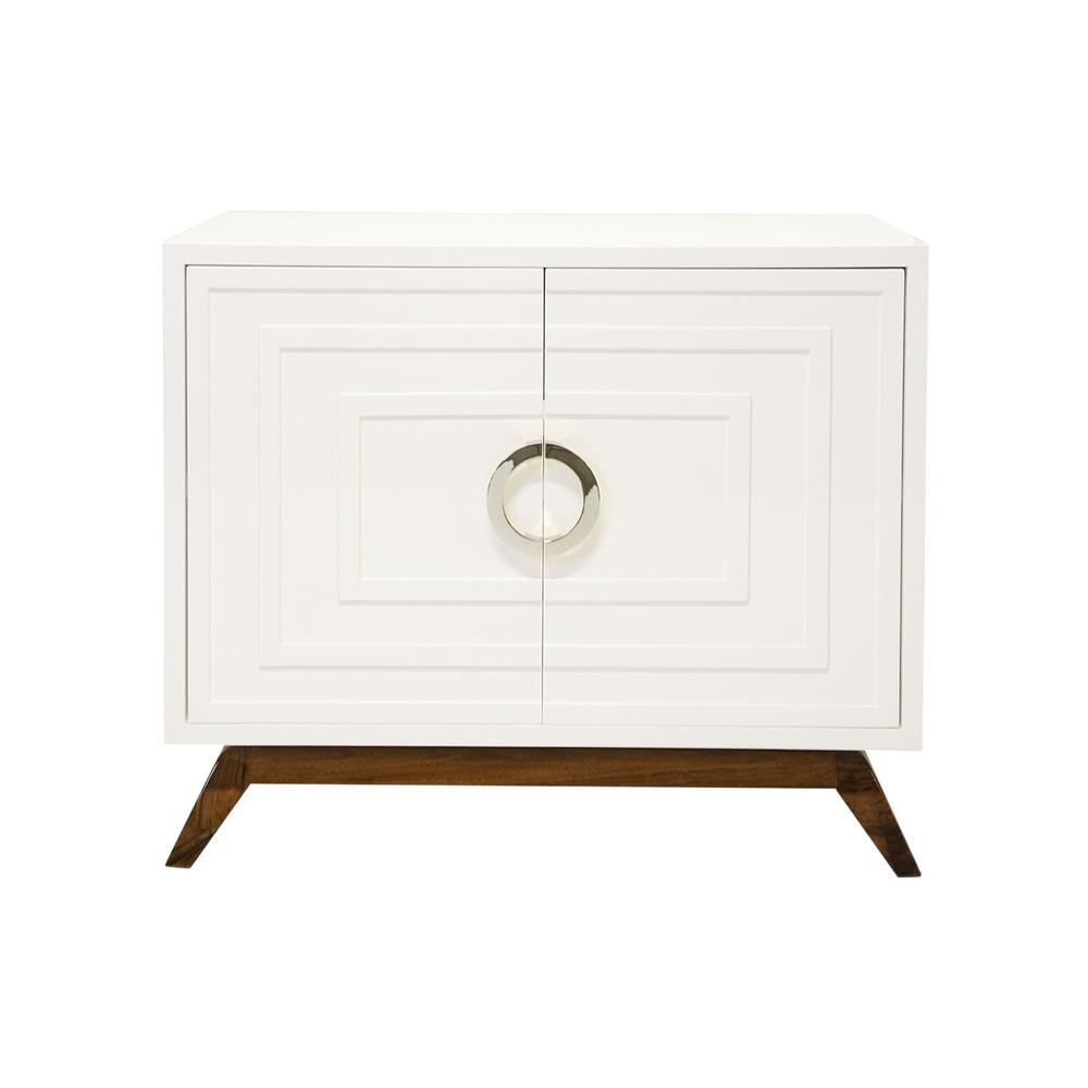 Entertain In Style With This Striking, Mid-century Modern Cabinet. Crisp, Architectural Lines and Inset, Splayed-leg Base Give This Conversation Piece A Standalone Presence. glossy White Lacquer Case Really Pops Against the Rich, Walnut Finish Base, and Circular, Polished Nickel Hardware Adds A Little Glitz. generous Storage With Single, Adjustable Shelf Perfect for Barware or Linens, and Includes Cut- Out In Back Panel For cord Management.