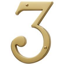 Lifetime Polished Brass House Number - 3