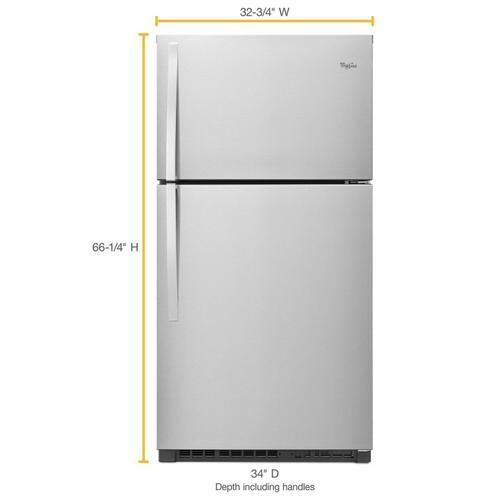 Whirlpool - 33-inch Wide Top Freezer Refrigerator - 21 cu. ft. Monochromatic Stainless Steel
