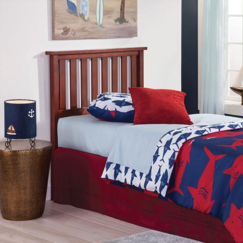 Fashion Bed Group - Belmont Wood Headboard Panel with Flat Top Rail and Slatted Grill Design, Merlot Finish, Full / Queen