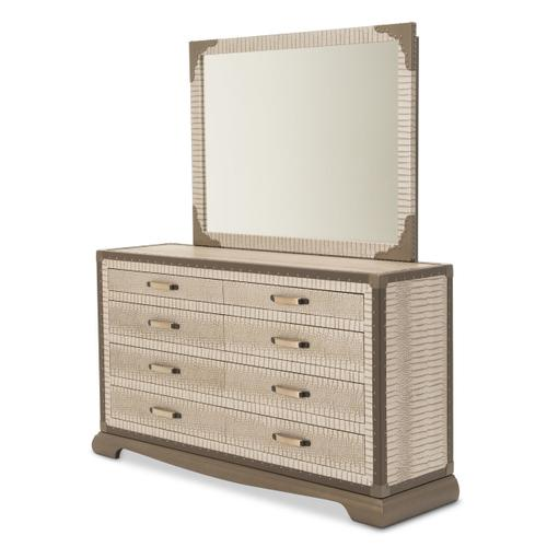 Upholstered 2 PC Storage Console- Dresser W/ Mirror