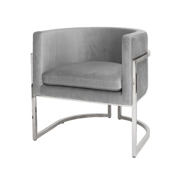 This Mid-century Modern, Barrel-back Arm Chair Dazzles From Every Angle. shapely Metal Frame Is Finished In Reflective, Polished Nickel, and Luxurious, Grey-colored Velvet Upholstery Beckons Your Guests To Sit and Stay Awhile. Perfect for the Dining Room, or Pair as Occasional Chairs In Your Keeping Room. Jenna Is A Charmer In Any Setting.