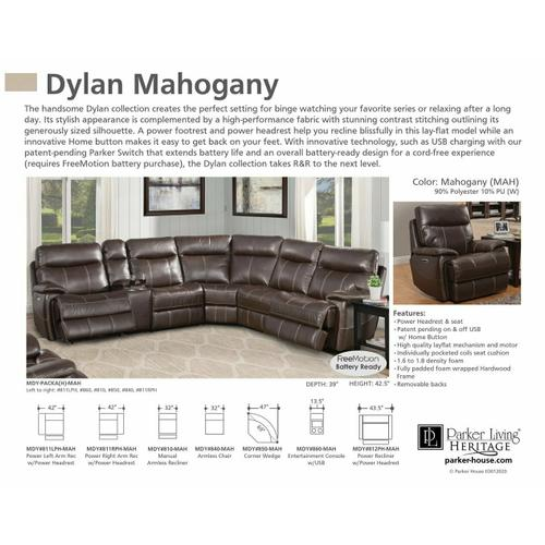 DYLAN - MAHOGANY Power Right Arm Facing Recliner