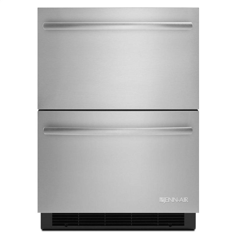"""Euro-Style 24"""" Double-Refrigerator Drawers Stainless Steel"""