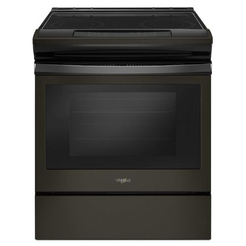 4.8 cu. ft. Guided Electric Front Control Range With The Easy-Wipe Ceramic Glass Cooktop Black Stainless
