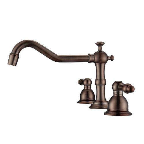 Roma Widespread Lavatory Faucet with Metal Lever Handles - Brushed Nickel