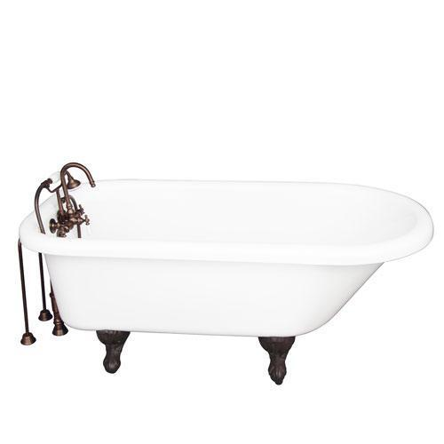 """Asia 67"""" Acrylic Roll Top Tub Kit in White - Oil Rubbed Bronze Accessories"""