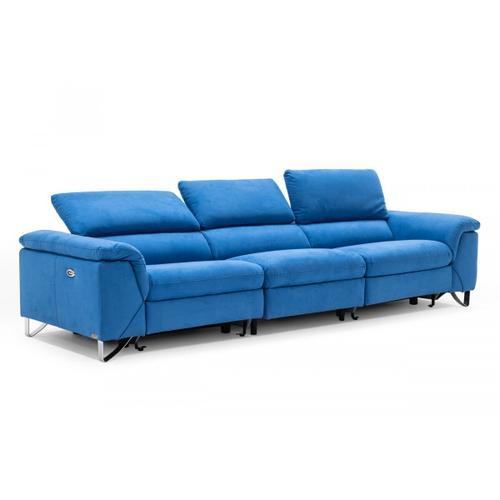 VIG Furniture - Divani Casa Maine - Modern Blue Fabric Sofa w/ Electric Recliners