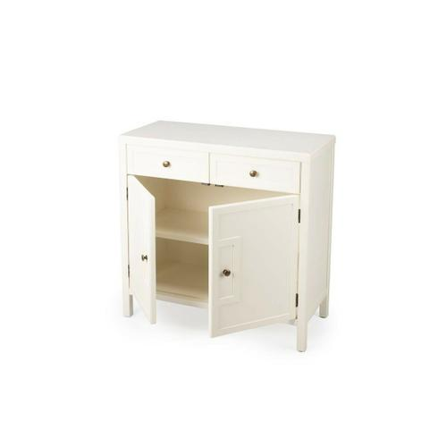 Butler Specialty Company - This stylish console cabinet combines Modern minimalism with Eastern design elements. Featuring clean lines and a White finish, its inner storage cabinet and two drawers make it a great addition in an entryway, hallway or living room. Crafted from bayur wood solids and wood products with nickel finished hardware.