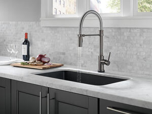Black Stainless Single Handle Pull-Down Spring Spout Kitchen Faucet with Touch 2 O ® Technology Product Image