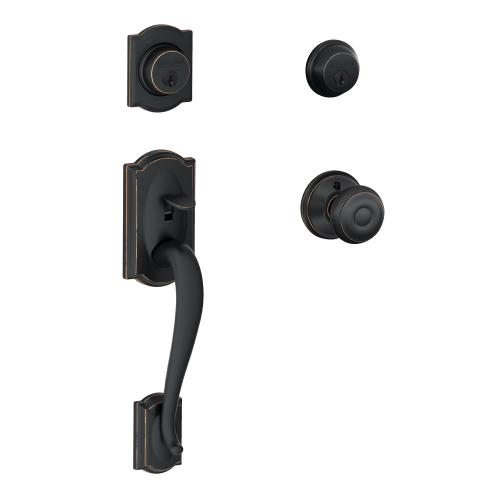 Camelot Double Cylinder Handleset and Georgian Knob - Aged Bronze