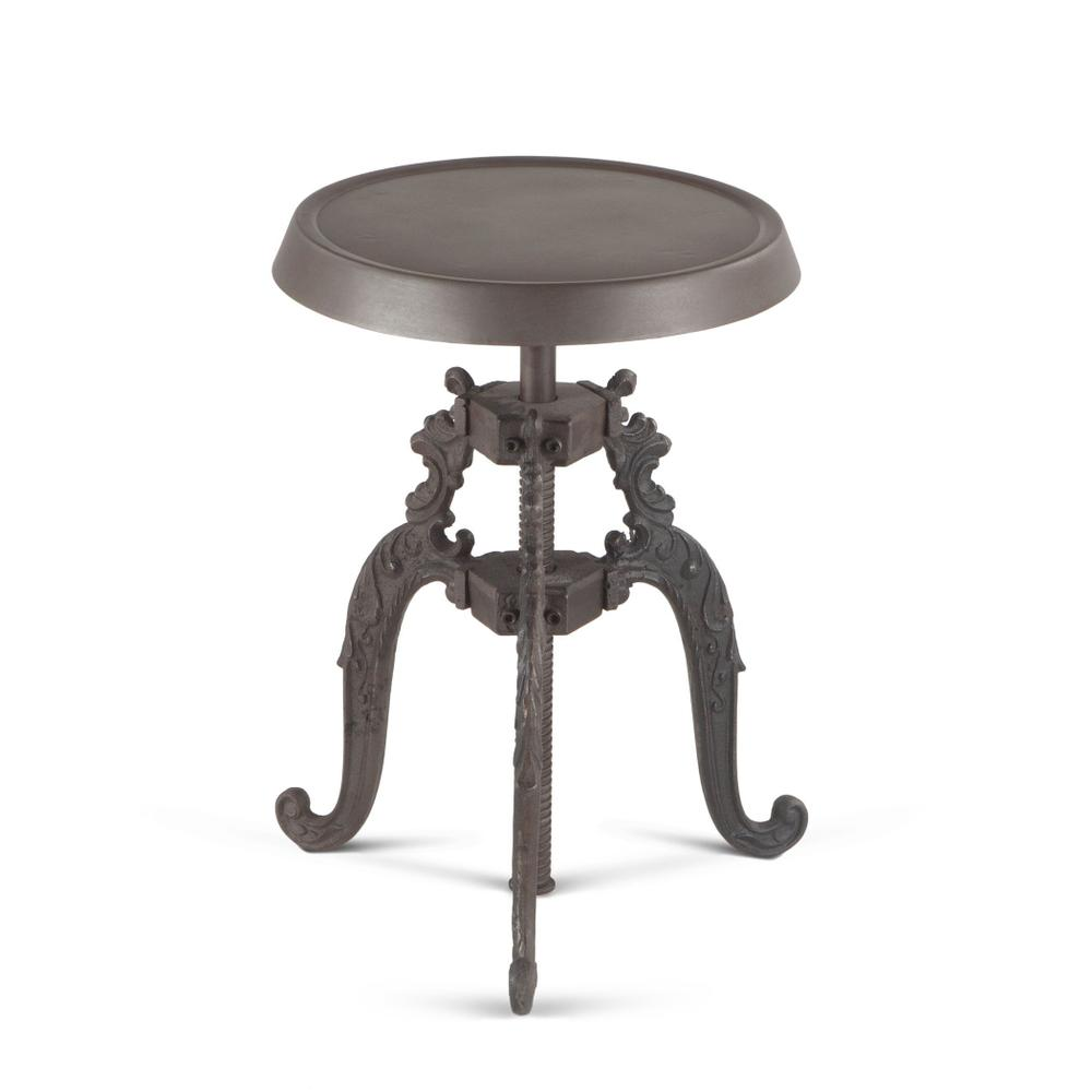 French Vintage Adjustable Gray Metal Stool
