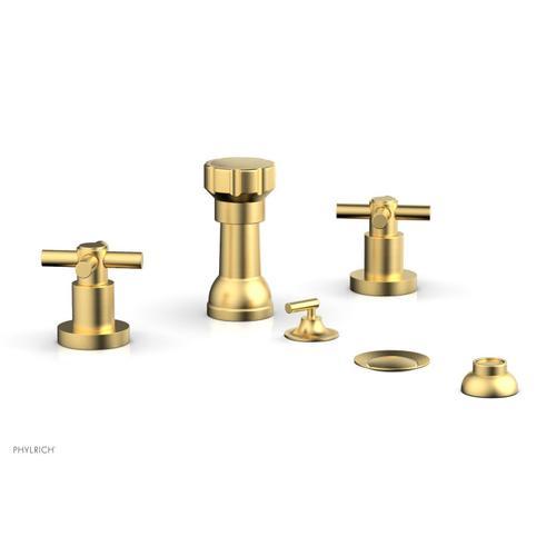 BASIC Four Hole Bidet Set - Tubular Cross Handles D4134 - Burnished Gold