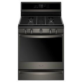5.8 cu. ft. Smart Freestanding Gas Range with EZ-2-Lift Grates Fingerprint Resistant Black Stainless