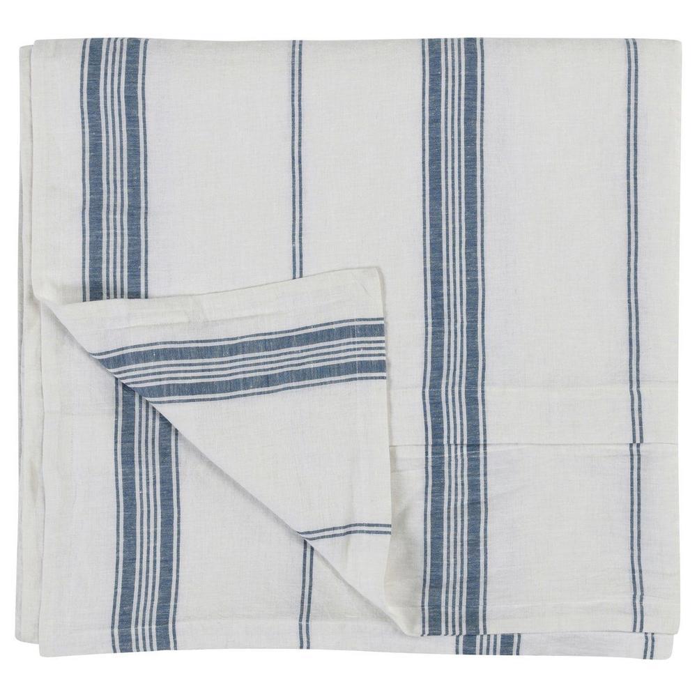 See Details - Jayson Blue Stripe Linen Cashmere 3pc Queen Set