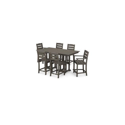 Polywood Furnishings - Lakeside 7-Piece Counter Set in Vintage Coffee