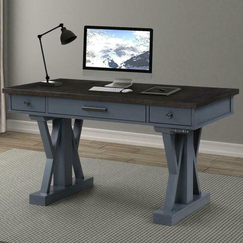 See Details - AMERICANA MODERN - DENIM 56 in. Power Lift Desk (from 23 in. to 48.5 in.) (AME#256T and LIFT#200BLK)