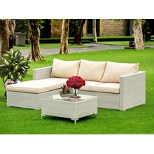 3Pc Natural Color Wicker Outdoor-Furniture Sectional Sofa Set Includes a Patio Table and Linen Fabric Cushion, Medium