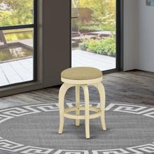 """Bedford Swivel Backless Barstool 24"""" Seat Height With Linen White Leg And Pu Leather Sandalwood Color"""