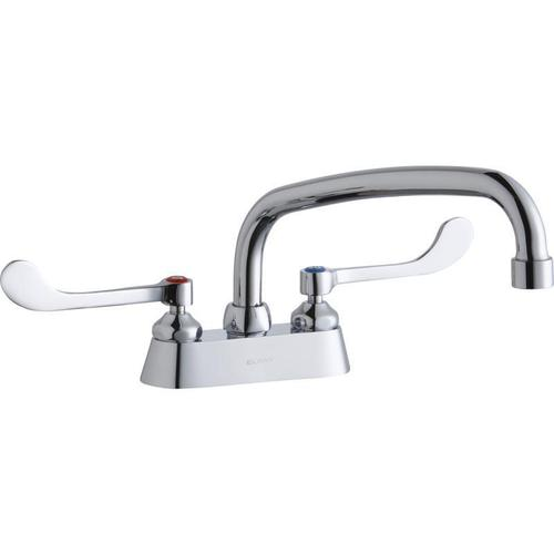 """Elkay 4"""" Centerset with Exposed Deck Faucet with 10"""" Arc Tube Spout 6"""" Wristblade Handles"""