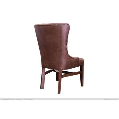 Upholstered Chair w/Tufted Back, Nailheads - Brown Microfiber