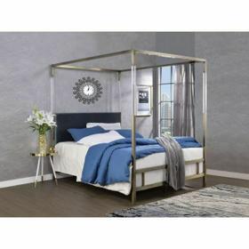 ACME Raegan Queen Bed (Canopy) - 22670Q - Gray Velvet & Antique Brass