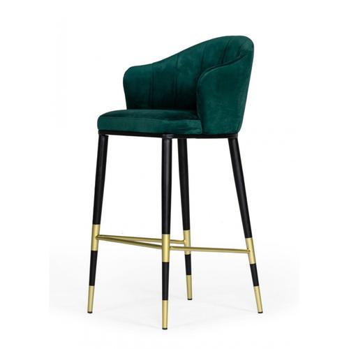 VIG Furniture - Modrest Adak Modern Glam Green with Black & Gold Barstool