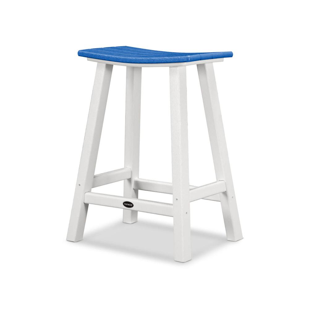 "White & Pacific Blue Contempo 24"" Saddle Bar Stool"