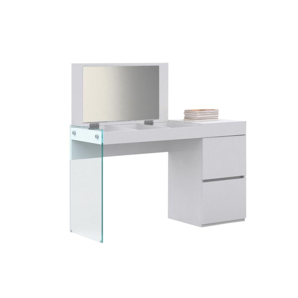 The Il Vetro Vanity In High Gloss White Lacquer And Mirror With Clear Glass