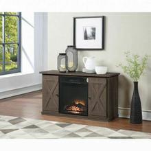 ACME Eladio TV Stand (Optional Fireplace) - 91378 - Farmhouse - Melamine Veneer, Paper Veneer, PB, Ply - Oak