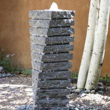 Garden Fountain: Tiered Helix Fountain Blue Gray Granite