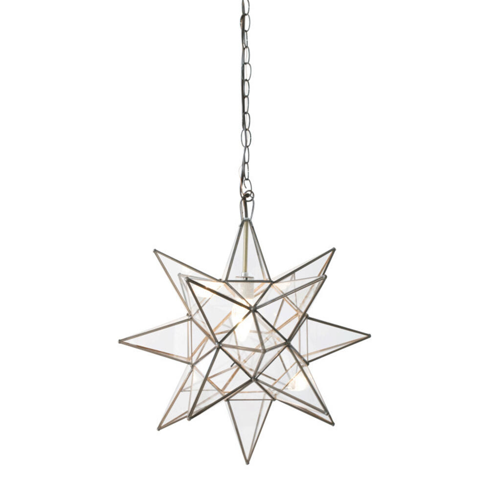 This Hand-crafted Moravian Star Pendant Illuminates Your Home With Whimsical Sparkle. Oxidized Metal finish and Clear Glass Panes Have Classic Appeal, and Petite Scaling Makes It Just the Right Touch for an Intimate Dining Room, Boudoir, or Powder Room. for Added Drama, Group With Our Various Size Offerings To Create and Ethereal Star SCAPE.