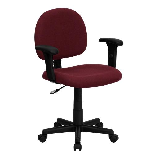 Alamont Furniture - Low Back Burgundy Fabric Swivel Task Chair with Adjustable Arms