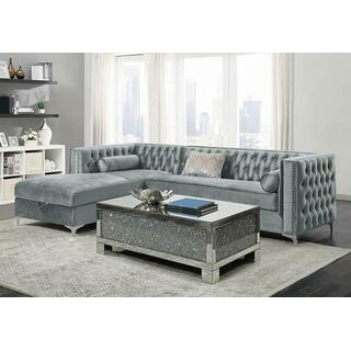 See Details - Bellaire Contemporary Silver and Chrome Sectional