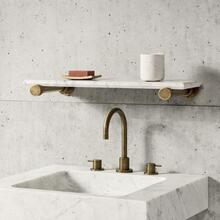 Elemental Accessory Shelf Aged Brass / Honed Carrara Marble / 24""