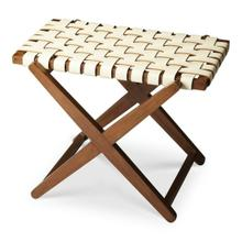 See Details - This sleek luggage rack combines good looks with function. It is expertly handcrafted from birch wood solids white leather straps in a basket-weave pattern.