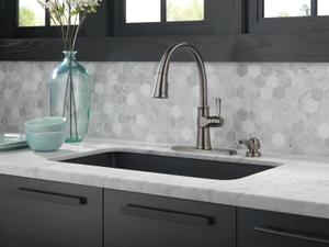 Black Stainless Single Handle Pull-Down Kitchen Faucet with Soap Dispenser and ShieldSpray ® Technology Product Image