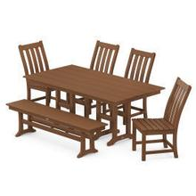 View Product - Vineyard 6-Piece Farmhouse Trestle Arm Chair Dining Set with Bench in Teak