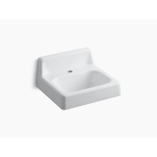 "White 20"" X 18"" Wall-mount/concealed Arm Carrier Bathroom Sink With Single Faucet Hole and Lugs for Chair Carrier"