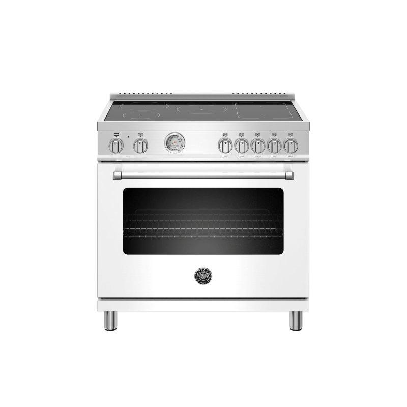 36 inch Induction Range, 5 Heating Zones, Electric Oven Bianco Matt