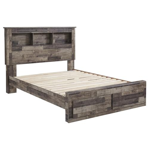 Derekson Queen Bed W/Storage Footboard & Bookcase Headboard Multi Gray