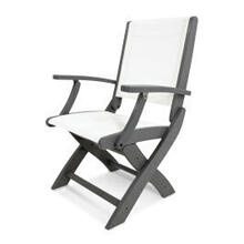View Product - Coastal Folding Chair in Slate Grey / White Sling
