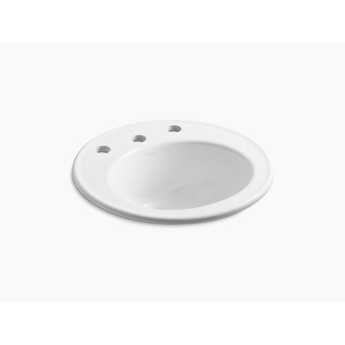 """White 19"""" Diameter Drop-in Bathroom Sink With 8"""" Widespread Faucet Holes"""