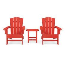 View Product - Wave 3-Piece Adirondack Chair Set with The Crest Chairs in Sunset Red