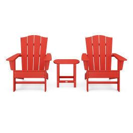 Polywood Furnishings - Wave 3-Piece Adirondack Chair Set with The Crest Chairs in Sunset Red
