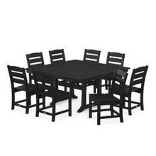 View Product - Lakeside 9-Piece Farmhouse Trestle Dining Set in Black