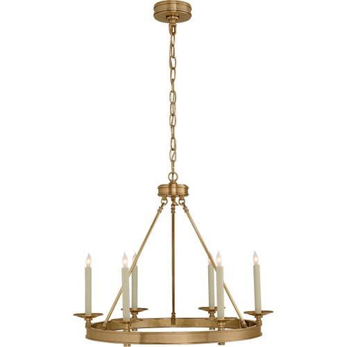 Visual Comfort - E. F. Chapman Launceton 6 Light 27 inch Antique-Burnished Brass Chandelier Ceiling Light, Small Ring