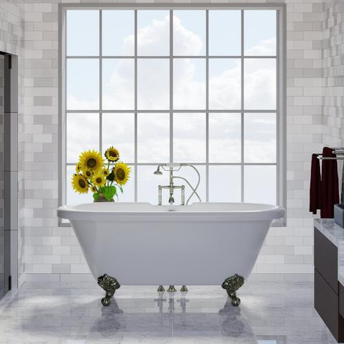 """Barclay - Claudia 67"""" Acrylic Double Roll Top Tub - Tap Deck - No Drillings / Brushed Nickel"""