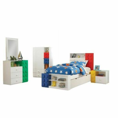 ACME Playground Nightstand - 30749 - White & Multi-Color